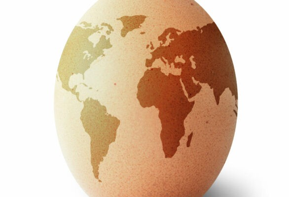 Atlas map egg over a white background